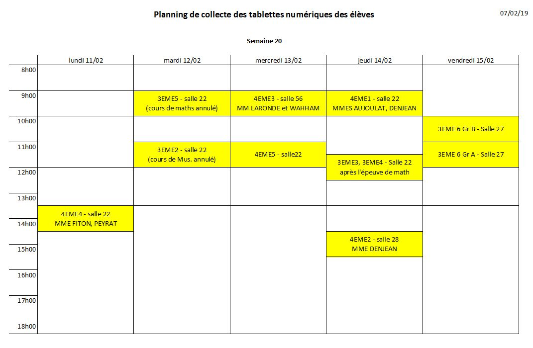 Planning retour tablettes
